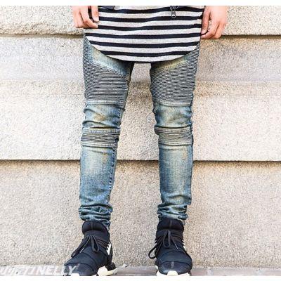 Biker Jeans Slim pour Homme Empiècement Côté Streetwear
