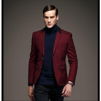 Blazer Laine Homme Veste de Costume Col Noir 2 Boutons