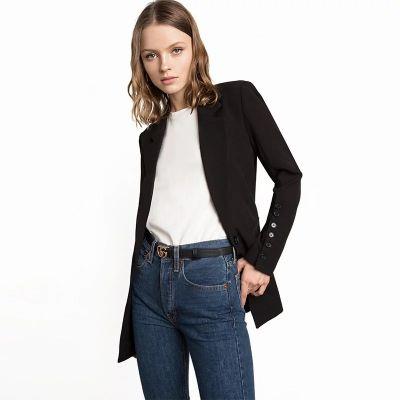 Blazer noir slim pour femme coupe classique cintré