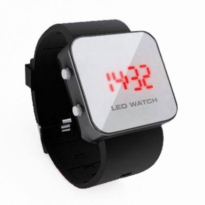 Montre LED mirroir avec bracelet silicone - Noir