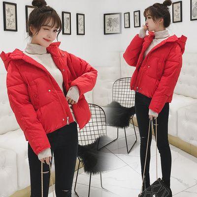 Blouson à capuche matelassée pour femme couleur unie hiver