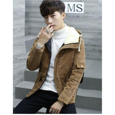 Blouson à capuche velours côtelé homme avec doublure imitation laine