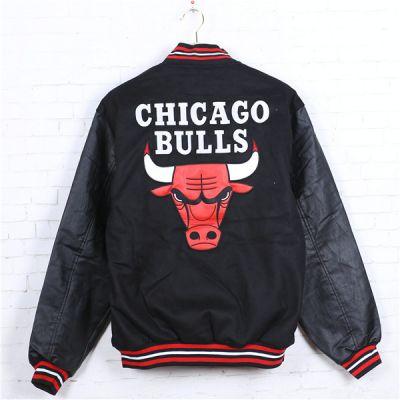 Blouson Bomber Chicago Bulls Rouge Manches Cuir Brodé NBA