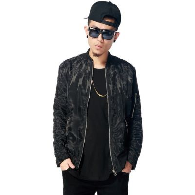 Blouson Bomber Homme Design Reflectif 3M Eclairs All Black