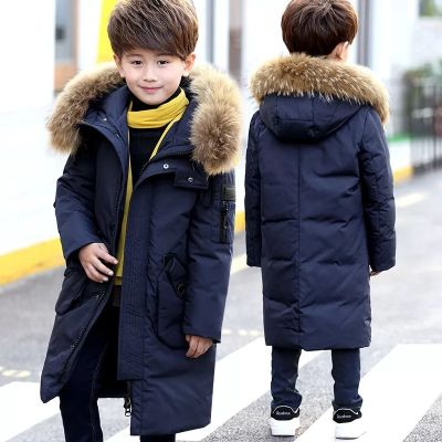Manteau long hiver avec capuche fourrure pour enfant parka