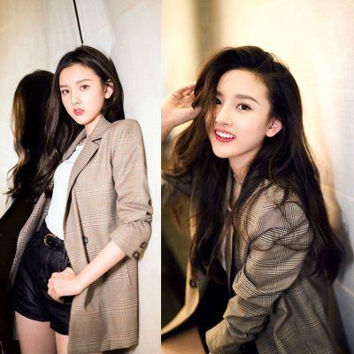 Blouson court blazer pour femme à carreaux marron vintage chic