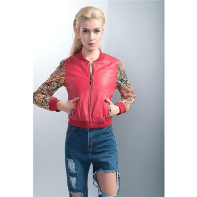 Blouson Cuir Bimatière Rouge pour Femme Manches Brodées Colorées