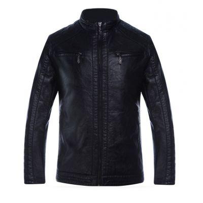 Blouson cuir motard pour homme avec texture à grain slim