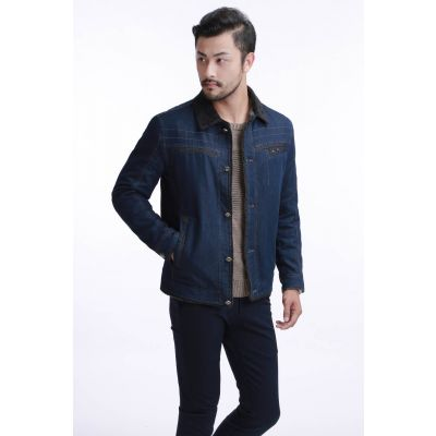 Blouson en jeans hiver pour homme avec col bordé fourrure