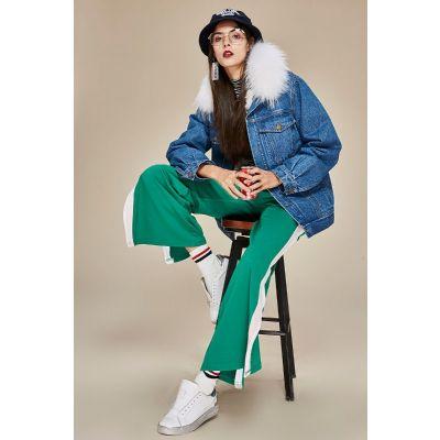 Blouson en jeans pour femme avec fourrure au col et doublure laine intérieure