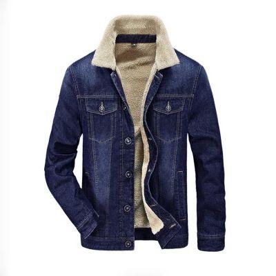 Blouson en jeans pour homme avec doublure laine intérieure