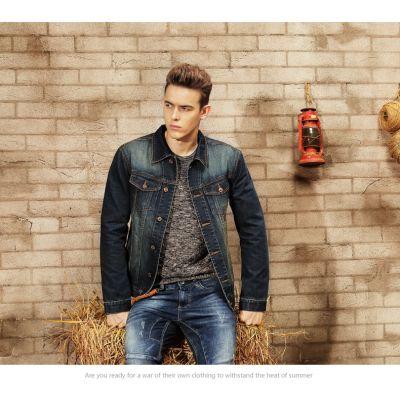 Blouson en Jeans pour Homme Trucker Veste Denim Classique