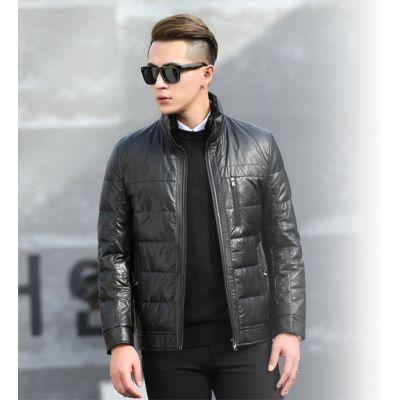 Blouson en simili cuir matelassé avec poche verticale poitrine pour homme