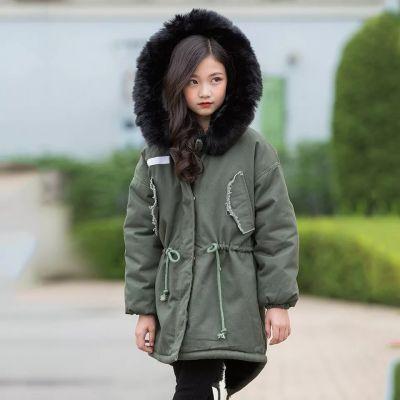 Blouson hiver pour fille matelassé fourrure capuche cordon ceinture