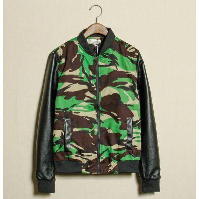 Veste pour Homme Camouflage avec Manches en Simili Cuir