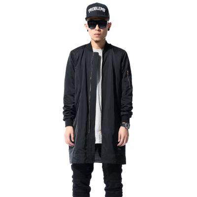 Blouson Pardessus Long Streetwear Homme Noir Zip Manches