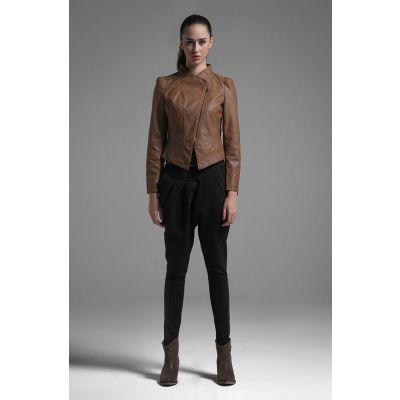 Veste Cuir Perfecto pour Femme Marron Classique Fashion