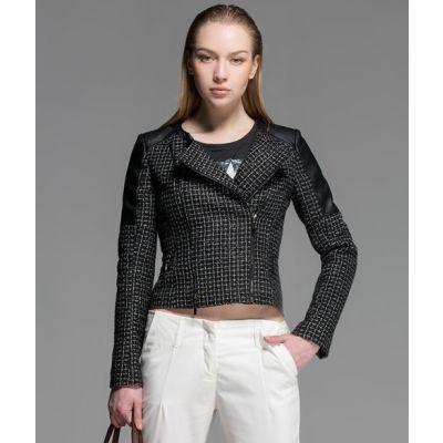 Blouson Perfecto pour Femme avec Combinaison Cuir Tissu Bimatière