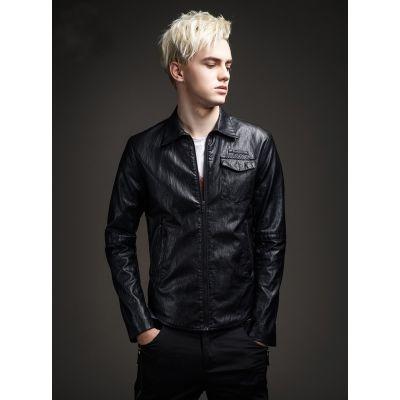 Blouson simili cuir pour homme avec effet texturé et col chemise