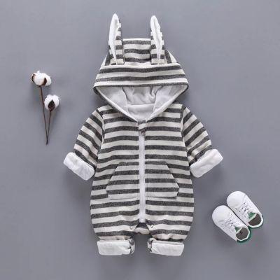 Body hiver pour bébé Combinaison à capuche avec oreilles lapin