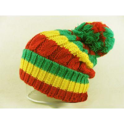 Bonnet Large à Pompom Rasta Rouge Jaune Vert Rayures
