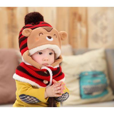 Bonnet Nounours pour enfant bébé avec pompom couleur
