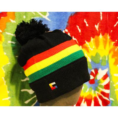 Bonnet Reggae à Pompom Noir Vert Jaune Rouge Rasta Laine