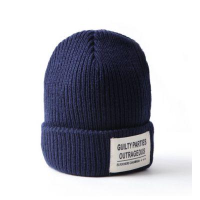 Bonnet tricot côtelé homme femme avec patch inscription