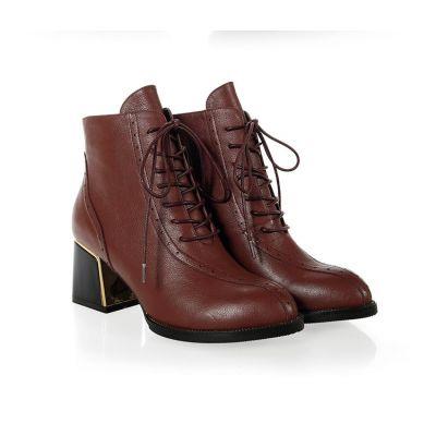 Boots à Talons pour Femme en Cuir avec Lacets et Perforations