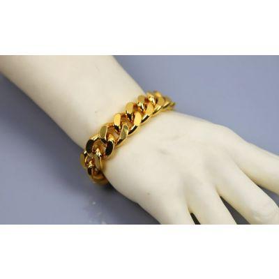 Bracelet Chaine Cuban Links Mailles Epaisses Plaqué Or