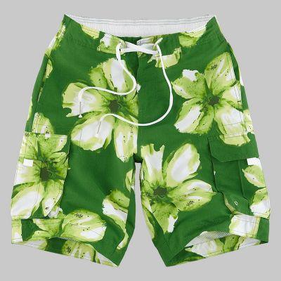 Short de bain à fleur motif hawaiien style surf avec cordon ceinture