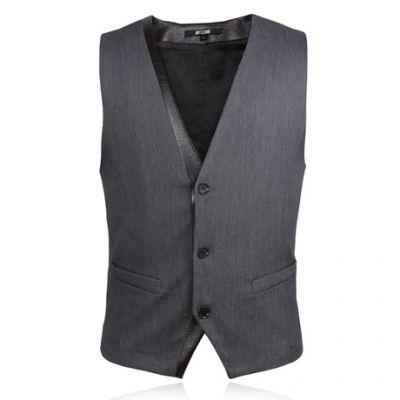 Gilet sans manches classique pour costume avec attache arrière – gris
