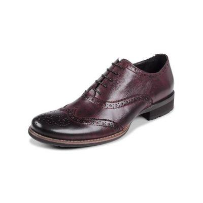 Chaussures de costume en cuir avec pointillés fantaisie - marrons