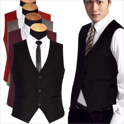 Gilet de costume pour homme sans manche boutonnage simple attache dos