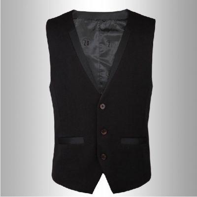 Gilet sans manches noir pour homme avec poches et col bordés
