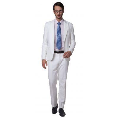Costume slim blanc pour homme Veste Cintrée Coupe Classique