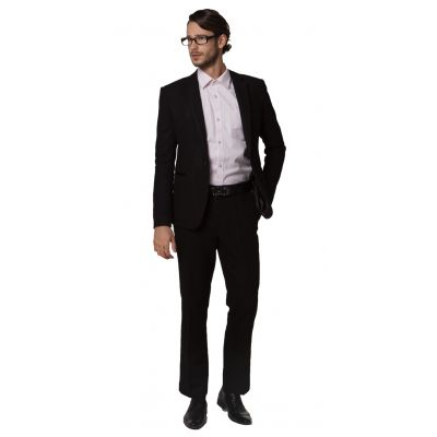 Costume hiver épais pour homme avec Veste Pantalon Gris ou Noir