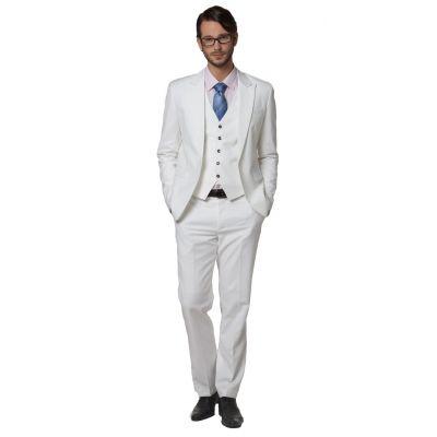 Costume Slim Trois Pièce pour Homme cintré gilet veste pantalon - blanc