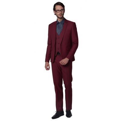 Costume Slim Trois Pièce cintré gilet veste pantalon pour Homme - bordeaux