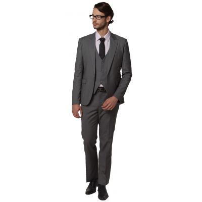 Costume Trois Pièce Cintré pour Bureau Mariage gilet veste pantalon - gris