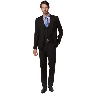 Costume Trois Pièce Cintré pour Bureau Mariage gilet veste pantalon - noir