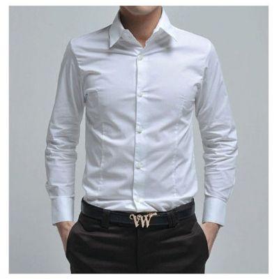 Chemise homme en coton blanche classique bureau soirée