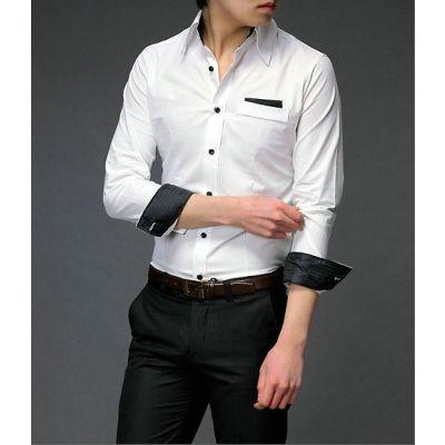 Chemise fashion pour homme avec col et manches lignée couleur - coton