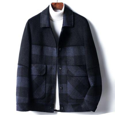 Caban motif écossais en laine pour homme