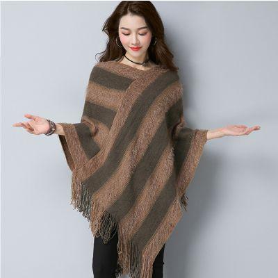 Cape en tricot knitwear pour femme avec bandes contrastantes