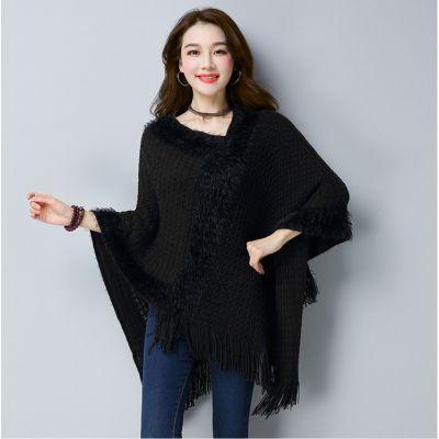 Cape en tricot knitwear pour femme avec bordure à frange