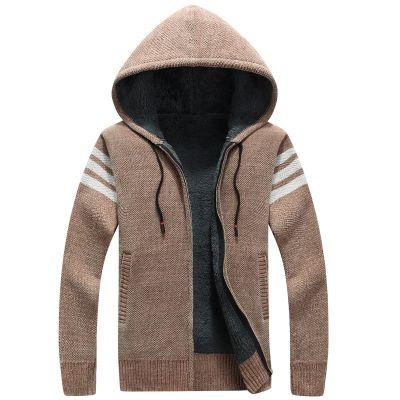Cardigan à capuche en laine pour homme avec fourrure triple bande