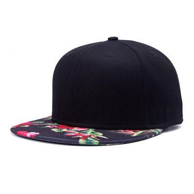Casquette Noire Visière à Fleurs Motif Fleuri Rouge Vert