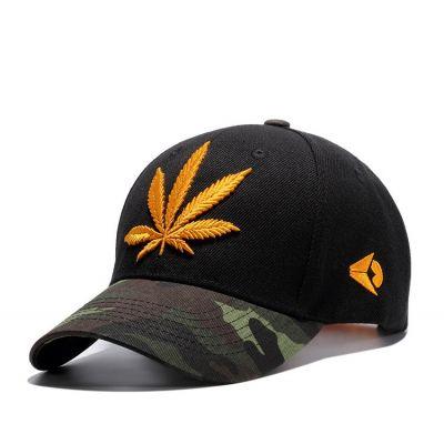 Casquette visière arrondie camouflage et broderie cannabis weed ganja
