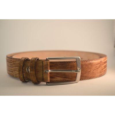 Ceinture cuir crocodile pour homme écaille - Marron clair